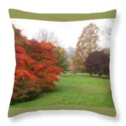 Planting Fields Red Tree Throw Pillow