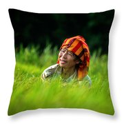 Planting Rice By Hand Throw Pillow