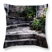 Plants Grow In The Uneven Stairs Climbing Towards The Tower Throw Pillow