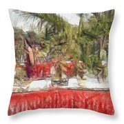 Plants On Stalls At An Exhibition Throw Pillow