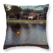 Plastic Buoy In Front Of A Lake Throw Pillow