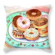 Plate Of Donuts Throw Pillow