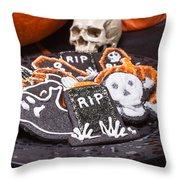 Plate Of Halloween Sugar Cookies Throw Pillow
