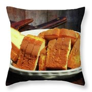 Plate With Sliced Bread And Knives Throw Pillow