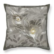 Platinum Feathers, Peacock Feathers Home Fashion Throw Pillow