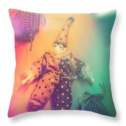 Play Act Of A Puppet Clown Performing A Sad Mime Throw Pillow