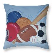 Play Ball Throw Pillow by Valerie Carpenter