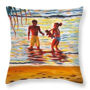 Play Day At Jobos Beach Throw Pillow