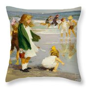 Play In The Surf Throw Pillow by Edward Henry Potthast