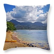Play Time In Princeville Throw Pillow