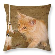 Play Time With Kitty Throw Pillow