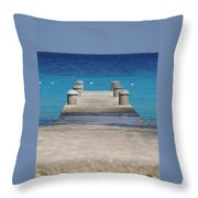 Playa Azul Dock Throw Pillow