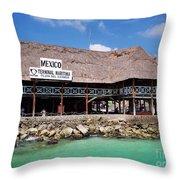 Playa Del Carmen Maritime Terminal Mexico Throw Pillow by Shawn O'Brien