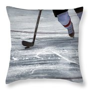 Player And Puck Throw Pillow