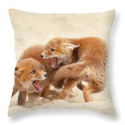 Playfighting Red Fox Kits Throw Pillow