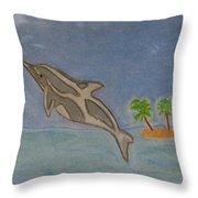 Playful Dolphin Throw Pillow