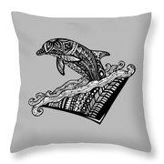 Playful Dolphin Zentangle Throw Pillow