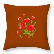 Playful Poppy Flowers Throw Pillow