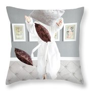 Playful Young Woman Jumping On The Bed , A Pillow Fight Throw Pillow