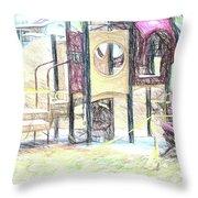 Playground Equipment Sketch Throw Pillow