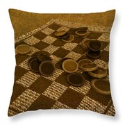 Playing Checkers On A Rug Throw Pillow