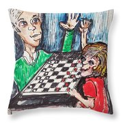 Playing Checkers Throw Pillow