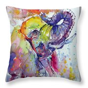 Playing Elephant Throw Pillow