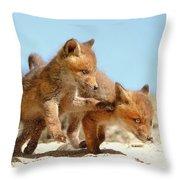 Playing Fox Kits Throw Pillow