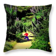 Playing In The Garden Five Throw Pillow