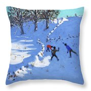 Playing In The Snow Youlgrave, Derbyshire Throw Pillow