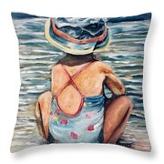 Playing In The Waves Throw Pillow