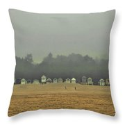 Playing On The Foggy Beach  Throw Pillow