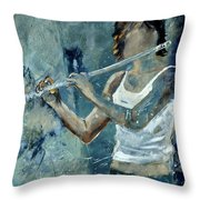 Playing The Flute Throw Pillow