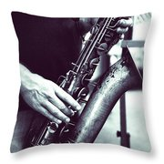 Playing The Saxophone Throw Pillow