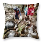 Playing With Giant Tortoises Throw Pillow