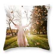 Playing With Leaves Throw Pillow