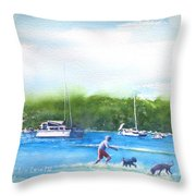 Playing With The Dogs At Rose Bay Throw Pillow