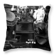 playng backgammon Sinai Egypt Throw Pillow