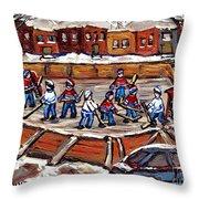 Playoff Time At The Local Hockey Rink Montreal Winter Scenes Paintings Best Canadian Art C Spandau Throw Pillow