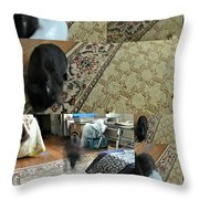 Playtime With Bunny Throw Pillow