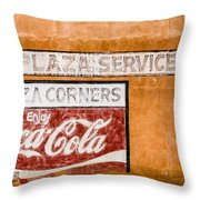 Plaza Corner Coca Cola Sign Throw Pillow