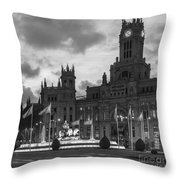 Plaza De Cibeles Fountain Madrid Spain Throw Pillow