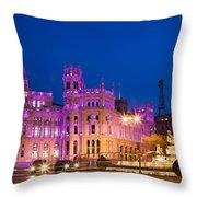 Plaza De Cibeles In Madrid Throw Pillow
