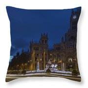 Plaza De Cibeles Madrid Spain Throw Pillow