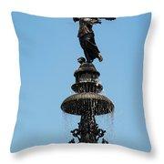Plaza Mayor Fountain Throw Pillow