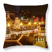 Plaza Overlook At Christmas Throw Pillow