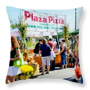 Plaza Pizza Throw Pillow