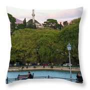 Pleasant Afternoon By Lake Pamvotis In Ioannina Throw Pillow