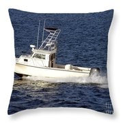 Pleasure Fishing Boat Throw Pillow