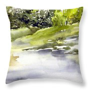 Plein Air At The Pond At Nutimik  Throw Pillow